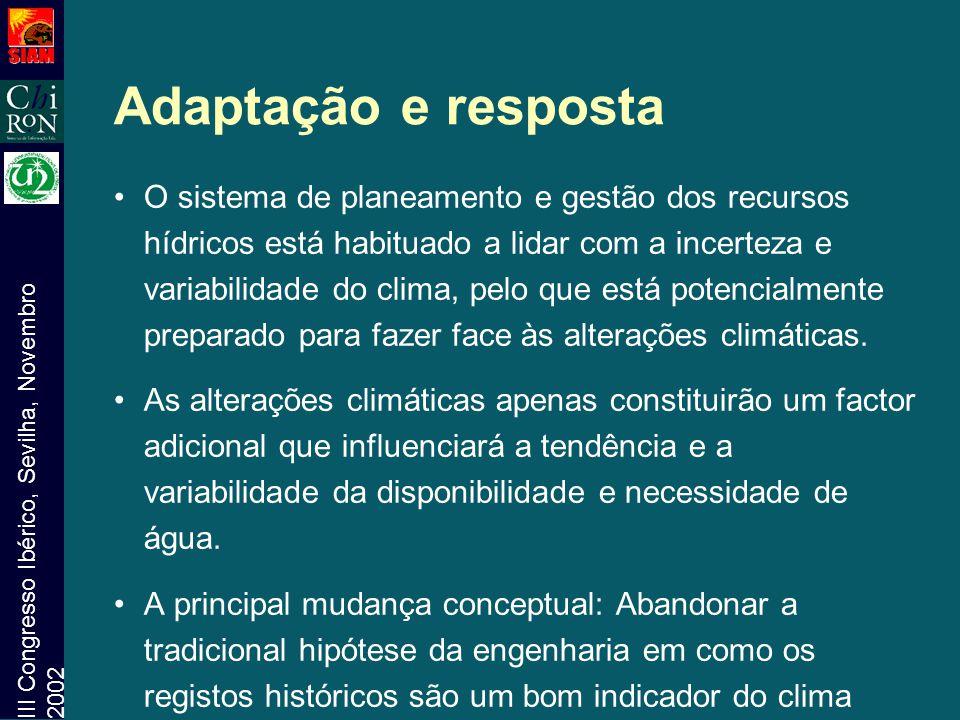 III Congresso Ibérico, Sevilha, Novembro 2002 Adaptação e resposta O sistema de planeamento e gestão dos recursos hídricos está habituado a lidar com