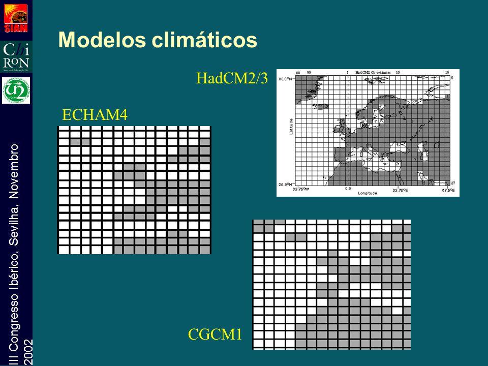 III Congresso Ibérico, Sevilha, Novembro 2002 Modelos climáticos HadCM2/3 ECHAM4 CGCM1