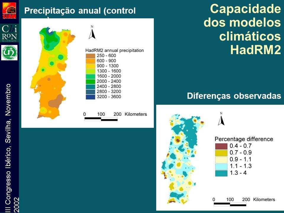 III Congresso Ibérico, Sevilha, Novembro 2002 Capacidade dos modelos climáticos HadRM2 Precipitação anual (control run) Diferenças observadas