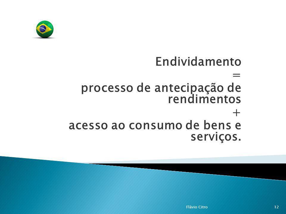 Endividamento = processo de antecipação de rendimentos + acesso ao consumo de bens e serviços. 12Flávio Citro
