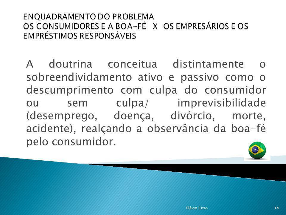 A doutrina conceitua distintamente o sobreendividamento ativo e passivo como o descumprimento com culpa do consumidor ou sem culpa/ imprevisibilidade