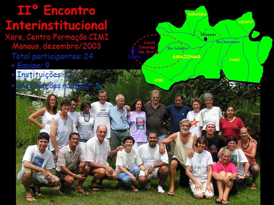 IIº Encontro Interinstitucional Xare, Centro Formação CIMI Manaus, dezembro/2003 Total participantes: 24 + Equipe: 9 + Instituições: 12 + Instituições
