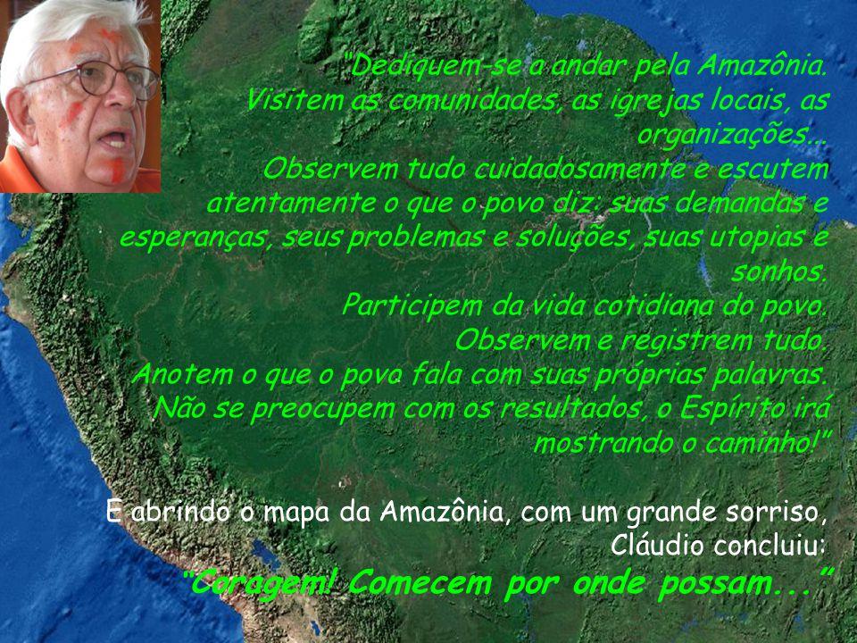 Dediquem-se a andar pela Amazônia. Visitem as comunidades, as igrejas locais, as organizações... Observem tudo cuidadosamente e escutem atentamente o