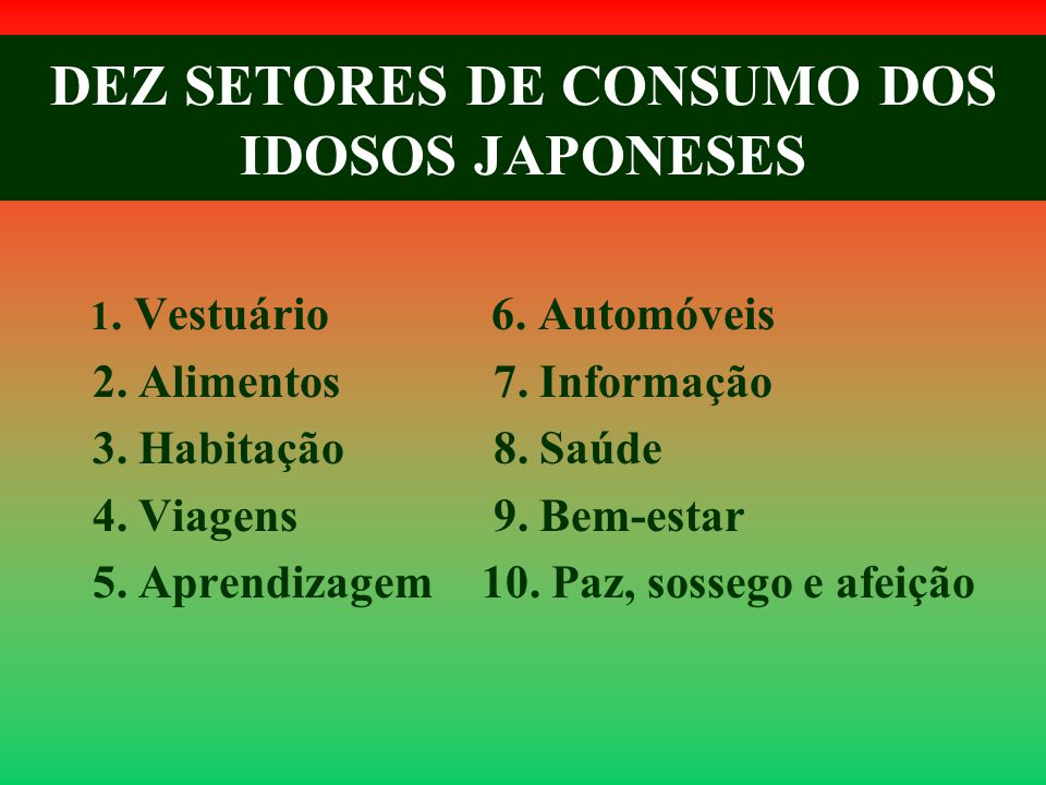 DEZ SETORES DE CONSUMO DOS IDOSOS JAPONESES 1. Vestuário 2. Alimentos 3. Habitação 4. Viagens 5. Aprendizagem 6. Automóveis 7. Informação 8. Saúde 9.