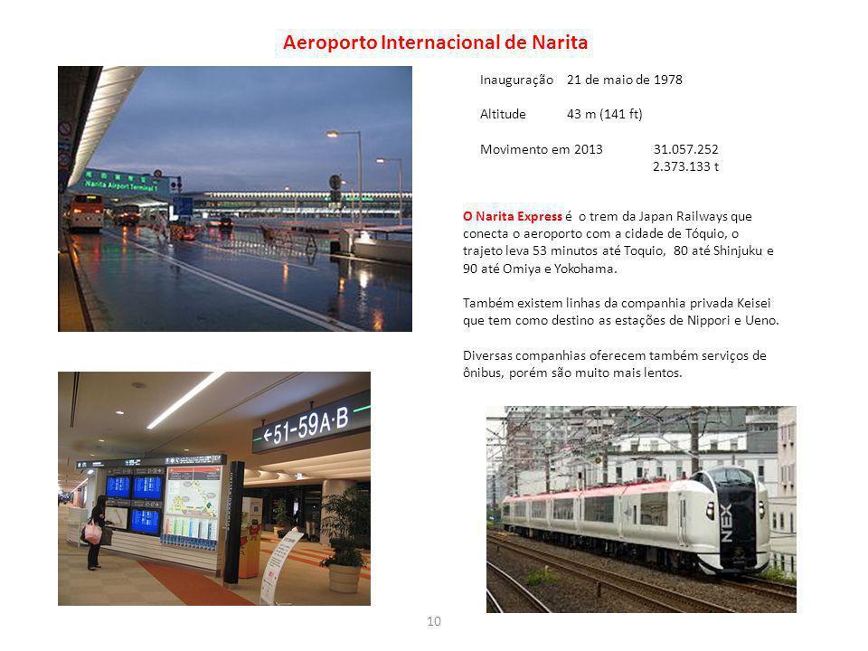 Aeroporto Internacional de Narita Inauguração21 de maio de 1978 Altitude43 m (141 ft) Movimento em 201331.057.252 2.373.133 t O Narita Express é o tre