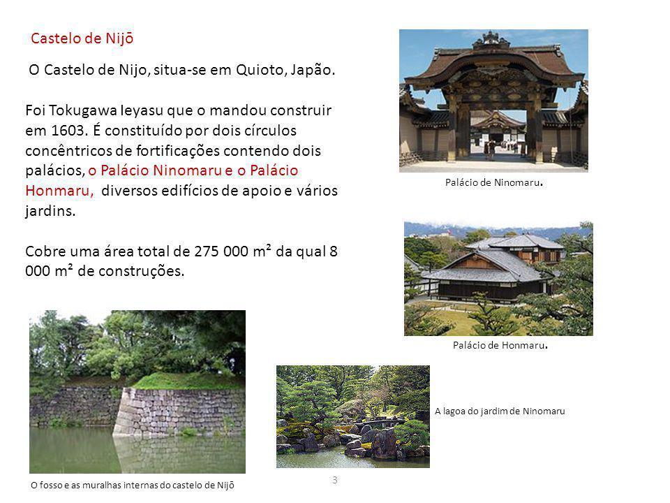 Castelo de Nijō O Castelo de Nijo, situa-se em Quioto, Japão. Foi Tokugawa Ieyasu que o mandou construir em 1603. É constituído por dois círculos conc