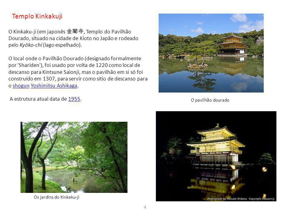 Templo Kinkakuji O Kinkaku-ji (em japonês, Templo do Pavilhão Dourado, situado na cidade de Kioto no Japão e rodeado pelo Kyōko-chi (lago espelhado).