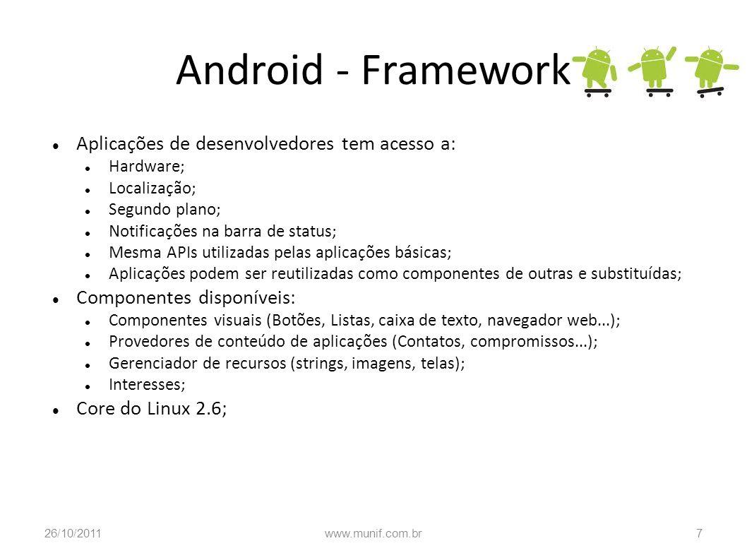 Android - Framework Aplicações de desenvolvedores tem acesso a: Hardware; Localização; Segundo plano; Notificações na barra de status; Mesma APIs util