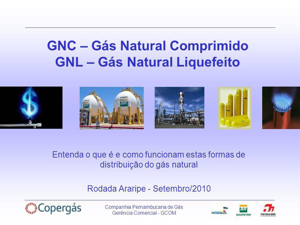 Companhia Pernambucana de Gás Gerência Comercial - GCOM GNC – Gás Natural Comprimido GNL – Gás Natural Liquefeito Entenda o que é e como funcionam estas formas de distribuição do gás natural Rodada Araripe - Setembro/2010