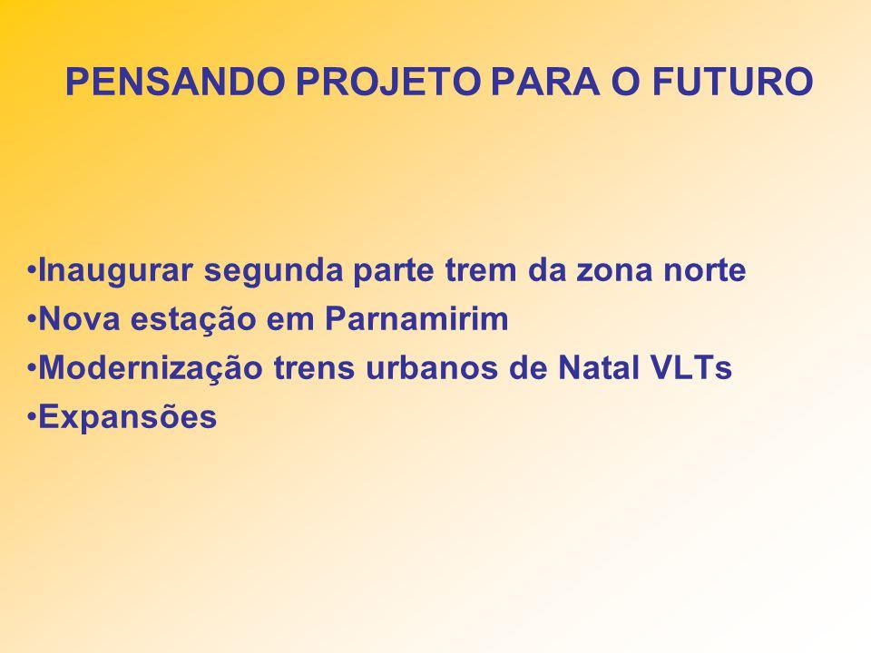 Inaugurar segunda parte trem da zona norte Nova estação em Parnamirim Modernização trens urbanos de Natal VLTs Expansões PENSANDO PROJETO PARA O FUTURO