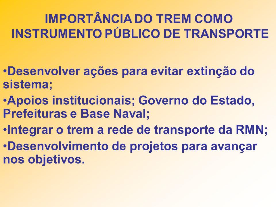 Desenvolver ações para evitar extinção do sistema; Apoios institucionais; Governo do Estado, Prefeituras e Base Naval; Integrar o trem a rede de transporte da RMN; Desenvolvimento de projetos para avançar nos objetivos.