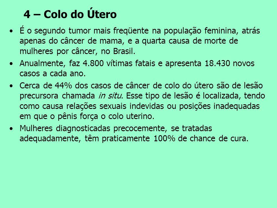 4 – Colo do Útero É o segundo tumor mais freqüente na população feminina, atrás apenas do câncer de mama, e a quarta causa de morte de mulheres por câ