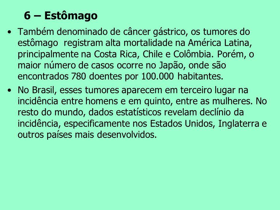 6 – Estômago Também denominado de câncer gástrico, os tumores do estômago registram alta mortalidade na América Latina, principalmente na Costa Rica,