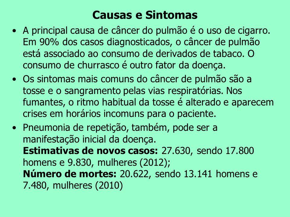 Causas e Sintomas A principal causa de câncer do pulmão é o uso de cigarro. Em 90% dos casos diagnosticados, o câncer de pulmão está associado ao cons