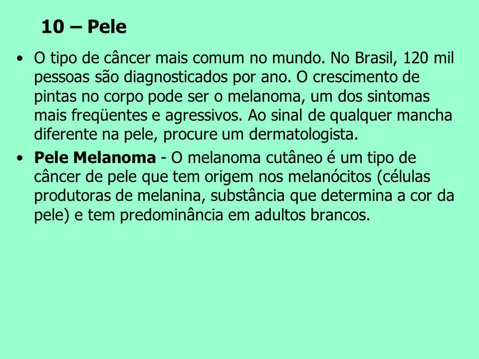 10 – Pele O tipo de câncer mais comum no mundo. No Brasil, 120 mil pessoas são diagnosticados por ano. O crescimento de pintas no corpo pode ser o mel