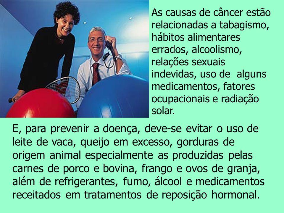 As causas de câncer estão relacionadas a tabagismo, hábitos alimentares errados, alcoolismo, relações sexuais indevidas, uso de alguns medicamentos, f