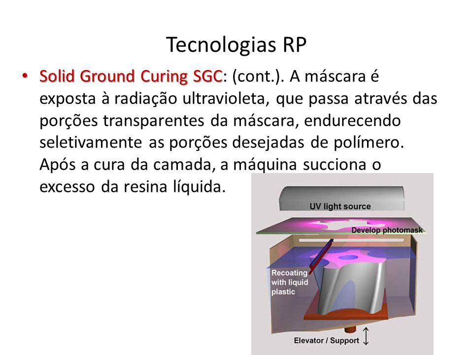 Tecnologias RP Solid Ground Curing SGC Solid Ground Curing SGC: (cont.). A máscara é exposta à radiação ultravioleta, que passa através das porções tr