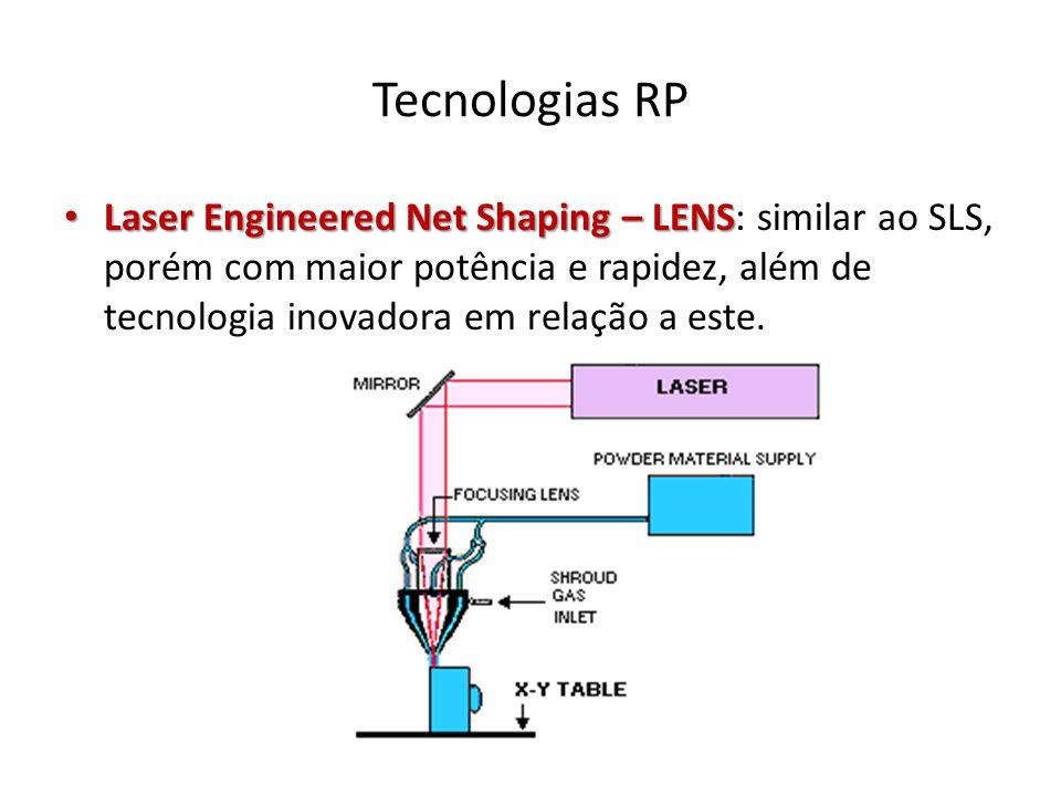 Tecnologias RP Laser Engineered Net Shaping – LENS Laser Engineered Net Shaping – LENS: similar ao SLS, porém com maior potência e rapidez, além de te
