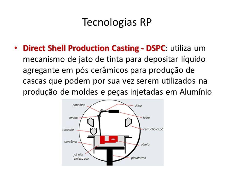 Tecnologias RP Direct Shell Production Casting - DSPC Direct Shell Production Casting - DSPC: utiliza um mecanismo de jato de tinta para depositar líq