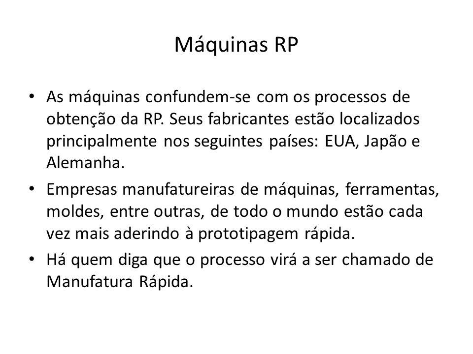 Máquinas RP As máquinas confundem-se com os processos de obtenção da RP. Seus fabricantes estão localizados principalmente nos seguintes países: EUA,