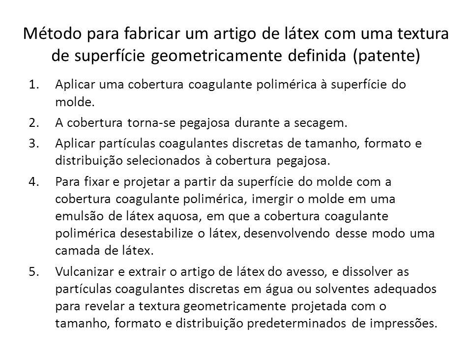 Método para fabricar um artigo de látex com uma textura de superfície geometricamente definida (patente) 1.Aplicar uma cobertura coagulante polimérica