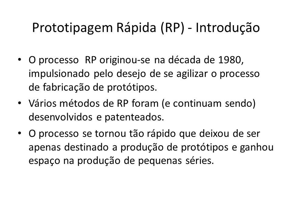 O processo RP originou-se na década de 1980, impulsionado pelo desejo de se agilizar o processo de fabricação de protótipos. Vários métodos de RP fora