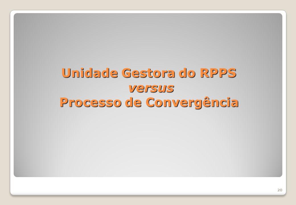 Unidade Gestora do RPPS versus Processo de Convergência 20