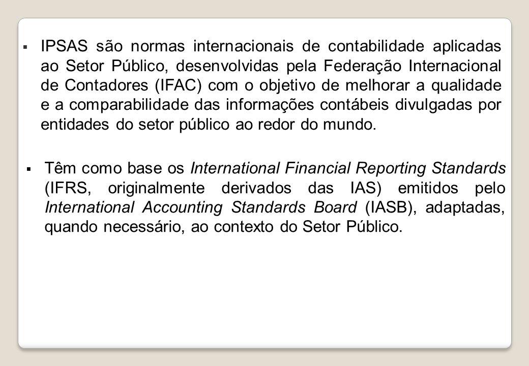 Brasil: fundamentos normativos para o processo de convergência NBC T SP 16, emitidas pelo CFC em 2008 Decreto 6.976/2009 Grupos técnicos de trabalho da STN: GTREL, GTCON e GTSIS Manual de Contabilidade Aplicada ao Setor Público (5ª edição) Portaria STN 634/2013