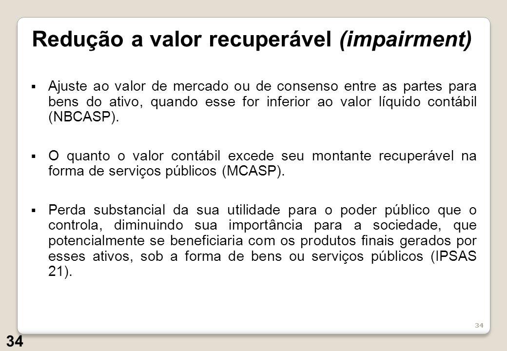 34 Ajuste ao valor de mercado ou de consenso entre as partes para bens do ativo, quando esse for inferior ao valor líquido contábil (NBCASP).