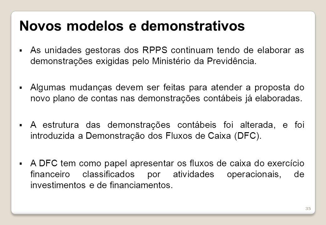 35 Novos modelos e demonstrativos As unidades gestoras dos RPPS continuam tendo de elaborar as demonstrações exigidas pelo Ministério da Previdência.