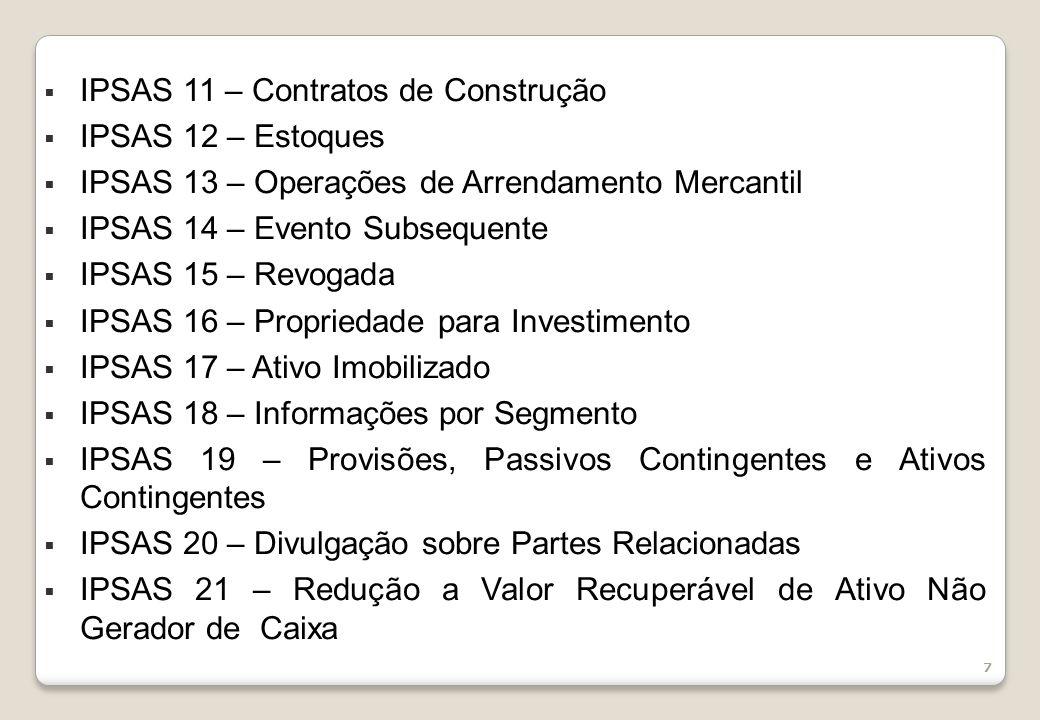 7 IPSAS 11 – Contratos de Construção IPSAS 12 – Estoques IPSAS 13 – Operações de Arrendamento Mercantil IPSAS 14 – Evento Subsequente IPSAS 15 – Revogada IPSAS 16 – Propriedade para Investimento IPSAS 17 – Ativo Imobilizado IPSAS 18 – Informações por Segmento IPSAS 19 – Provisões, Passivos Contingentes e Ativos Contingentes IPSAS 20 – Divulgação sobre Partes Relacionadas IPSAS 21 – Redução a Valor Recuperável de Ativo Não Gerador de Caixa