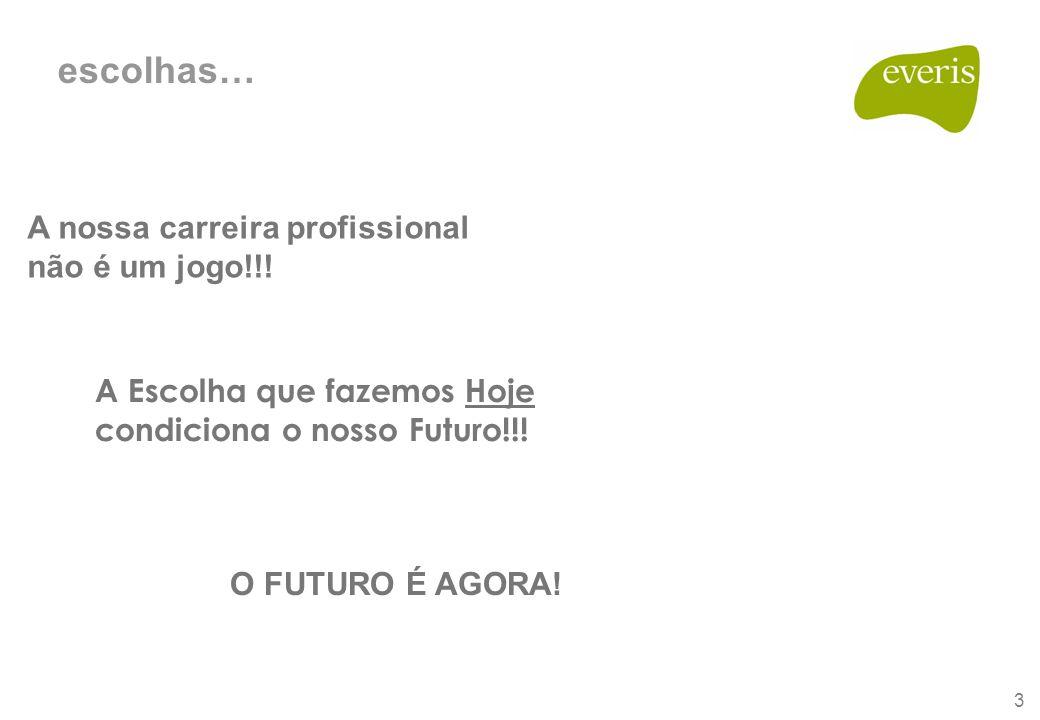 3 escolhas… A nossa carreira profissional não é um jogo!!! O FUTURO É AGORA! A Escolha que fazemos Hoje condiciona o nosso Futuro!!!