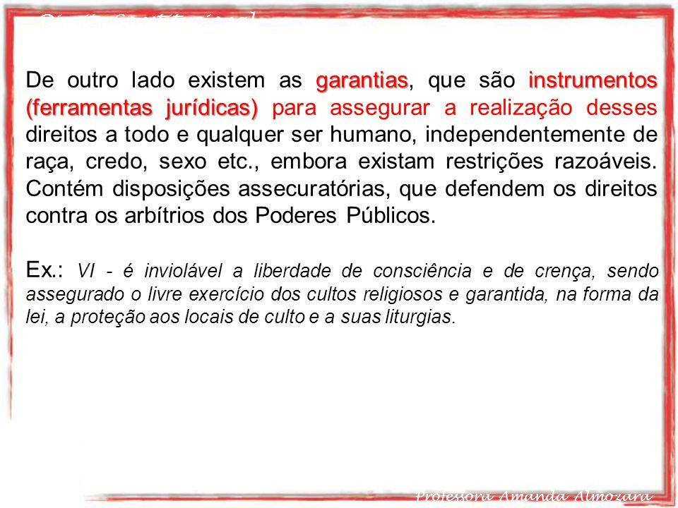 Direito Constitucional Professora Amanda Almozara 21 garantiasinstrumentos (ferramentas jurídicas) De outro lado existem as garantias, que são instrum