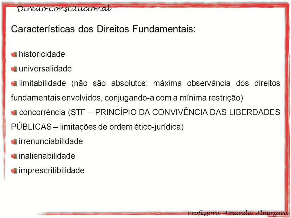 Direito Constitucional Professora Amanda Almozara 24 Características dos Direitos Fundamentais: historicidade universalidade limitabilidade (não são a