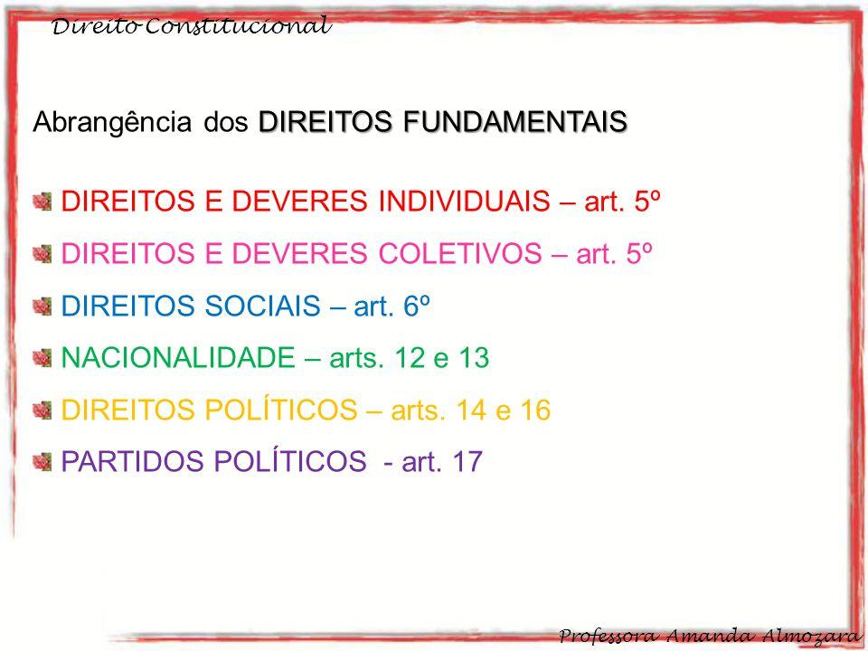 Direito Constitucional Professora Amanda Almozara 27 DIREITOS FUNDAMENTAIS Abrangência dos DIREITOS FUNDAMENTAIS DIREITOS E DEVERES INDIVIDUAIS – art.