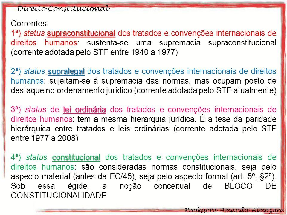 Direito Constitucional Professora Amanda Almozara 30 Correntes acerca do tema: supraconstitucional 1ª) status supraconstitucional dos tratados e conve
