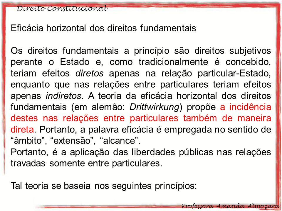 Direito Constitucional Professora Amanda Almozara 32 Eficácia horizontal dos direitos fundamentais Os direitos fundamentais a princípio são direitos s