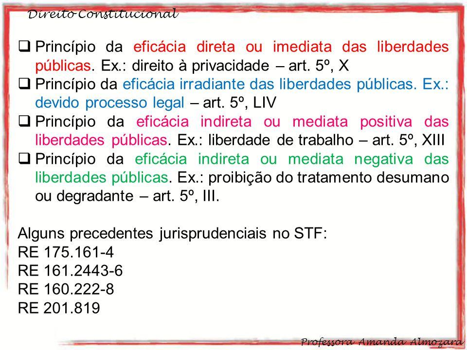 Direito Constitucional Professora Amanda Almozara 33 Princípio da eficácia direta ou imediata das liberdades públicas. Ex.: direito à privacidade – ar