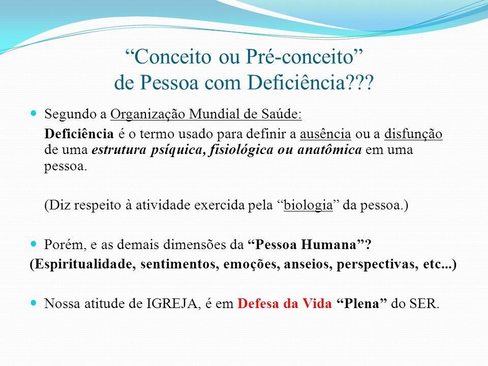 Conceito ou Pré-conceito de Pessoa com Deficiência??? Segundo a Organização Mundial de Saúde: Deficiência é o termo usado para definir a ausência ou a