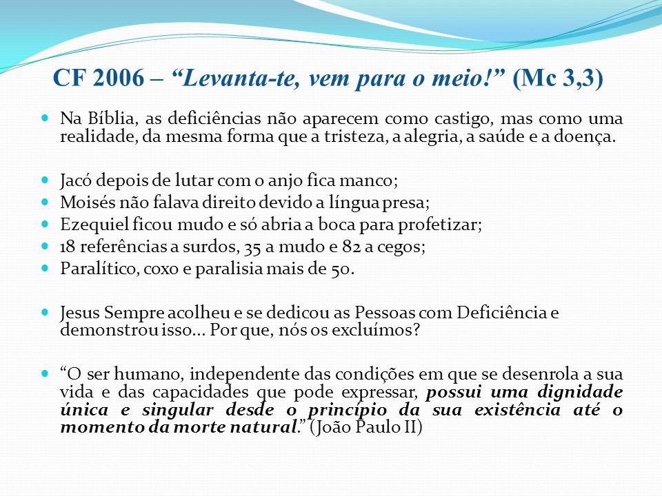 CF 2006 – Levanta-te, vem para o meio! (Mc 3,3) Na Bíblia, as deficiências não aparecem como castigo, mas como uma realidade, da mesma forma que a tri