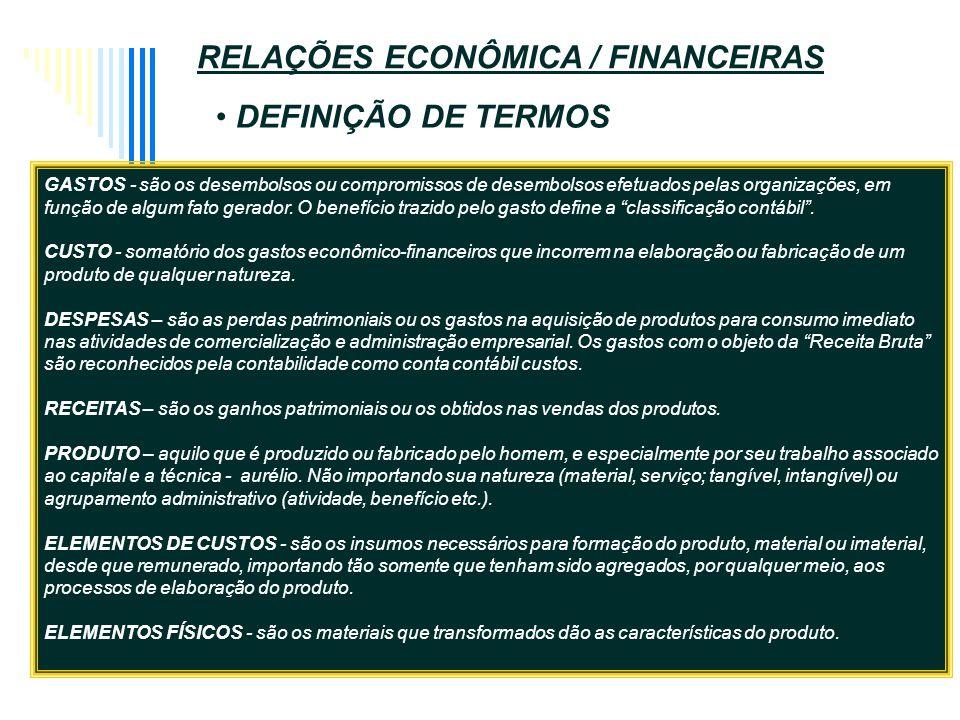 ASFEL-assesoria adm financeira empresarial s/c ltda GASTOS - são os desembolsos ou compromissos de desembolsos efetuados pelas organizações, em função de algum fato gerador.