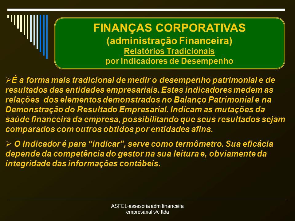 ASFEL-assesoria adm financeira empresarial s/c ltda FINANÇAS CORPORATIVAS (administração Financeira) Relatórios Tradicionais por Indicadores de Desempenho É a forma mais tradicional de medir o desempenho patrimonial e de resultados das entidades empresariais.