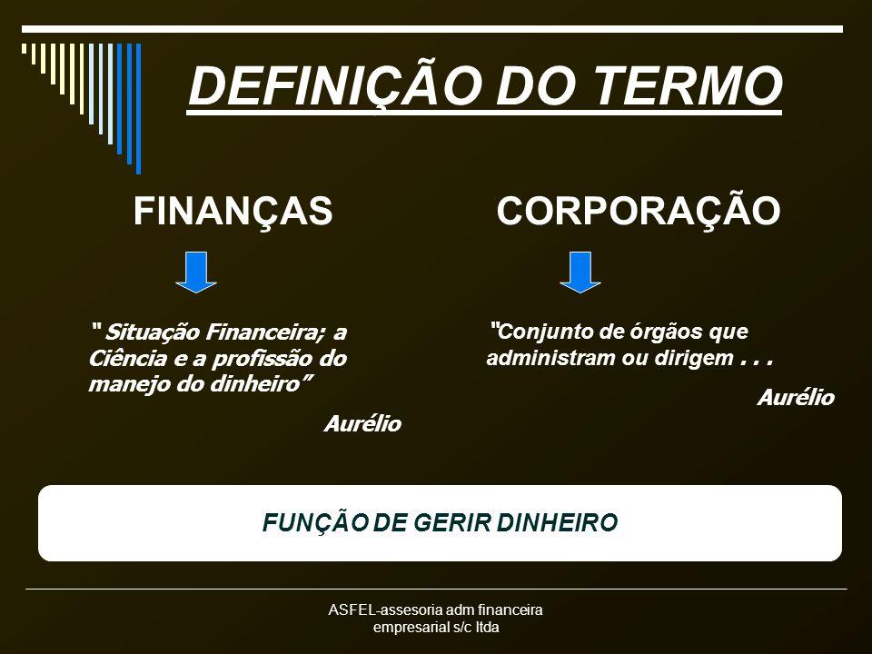ASFEL-assesoria adm financeira empresarial s/c ltda DEFINIÇÃO DO TERMO FINANÇAS Situação Financeira; a Ciência e a profissão do manejo do dinheiro Aur