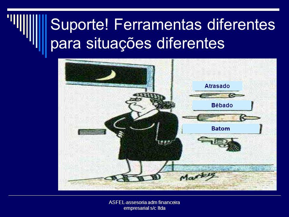 ASFEL-assesoria adm financeira empresarial s/c ltda Suporte! Ferramentas diferentes para situações diferentes Atrasado Bêbado Batom