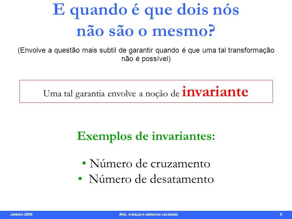 Janeiro 2006 Nós, tranças e números racionais 9 Classificação Lista dos nós primos até 9 cruzamentos.