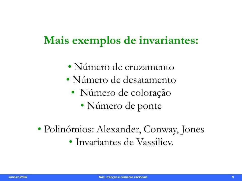 Janeiro 2006 Nós, tranças e números racionais 10 Polinómio de Conway
