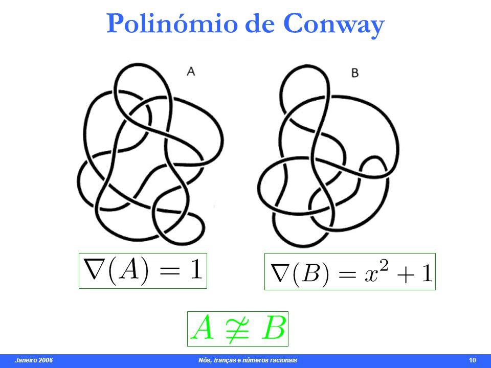 Janeiro 2006 Nós, tranças e números racionais 10 Polinómio de Conway mas