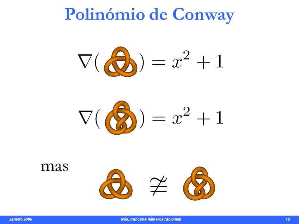 Janeiro 2006 Nós, tranças e números racionais 11 Polinómio de Jones invariante COMPLETO .