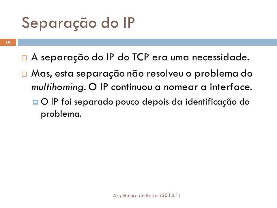Separação do IP Arquitetura de Redes (2013.1) 10 A separação do IP do TCP era uma necessidade.