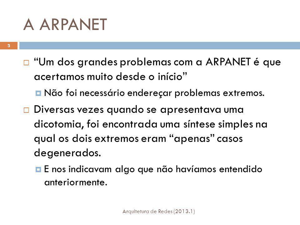A ARPANET Arquitetura de Redes (2013.1) 3 Um dos grandes problemas com a ARPANET é que acertamos muito desde o início Não foi necessário endereçar problemas extremos.